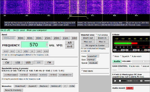 NA5B WebSDR with improved bandpass controls and display